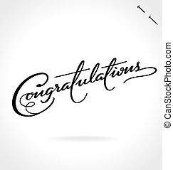 iscrizione, congratulazioni, mano