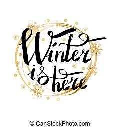 iscrizione, cornice, inverno, qui, calligraphic