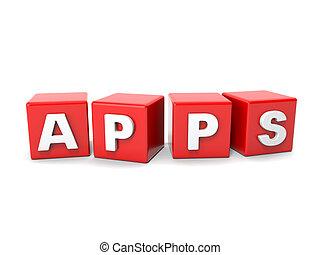 iscrizione, cubi, apps, rosso
