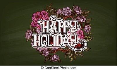 iscrizione, decorato, fiori, vacanza, felice