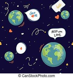iscrizione, ecologia, amore, character., terra, icone fotoricettore, modello, seamless, risparmiare, felice, mappa, planet., globe., natura, motivazionale, mondo, cartone animato, illustration., modellato, pianeta, vettore, verde, earth.