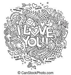 iscrizione, elementi, amore, mano, doodles, lei
