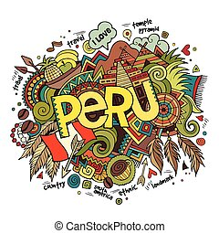 iscrizione, elementi, fondo, mano, perù, doodles
