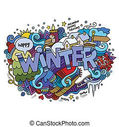 iscrizione, elementi, inverno, mano, fondo, doodles