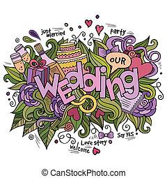 iscrizione, elementi, mano, fondo, matrimonio, doodles