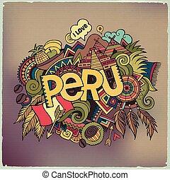 iscrizione, elementi, mano, fondo., perù, doodles
