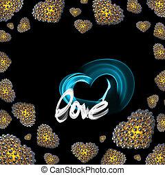 iscrizione, fatto, amore, oro, sfere, fuoco, valentines, metallo, isolato, illustrazione, o, smoke., scritto, sfondo nero, cuori, felice, giorno, 3d