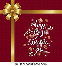 iscrizione, fiocchi neve, molto, grande, vendita, inverno