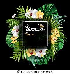 iscrizione, fiori, poster., oro, estate, azzurramento, struttura, monstera, tropicale, fondo., nero, hibiscuses, foglie, palma, bianco, vacanza, bandiera, orchidee