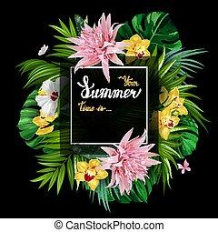 iscrizione, fiori, poster., oro, estate, hibiscuses, struttura, monstera, tropicale, fondo., nero, aechmea, foglie, azzurramento, palma, bianco, vacanza, bandiera, orchidee