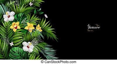 iscrizione, fiori, poster., oro, estate, hibiscuses, struttura, monstera, tropicale, fondo., nero, foglie, azzurramento, palma, bianco, vacanza, bandiera, orchidee