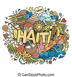 iscrizione, haiti, elementi, doodles, mano