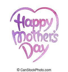 iscrizione, hand-drawn, felice, giorno, madri