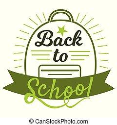 iscrizione, indietro, segno, colori, disegno, nastro, stile, concept., creativo, nuovo, bianco, appartamento, emblema, benvenuto, fondo, badges., scuola, illustration., borsa, vettore, verde, schoolyear