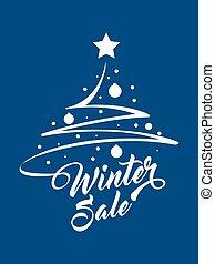 iscrizione, inverno albero, natale, vendita