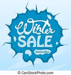 iscrizione, inverno, cornice, vendita, ghiaccio, rotondo