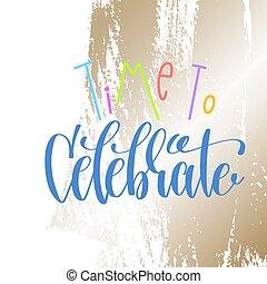 iscrizione, iscrizione, testo, -, mano, tempo, celebrare