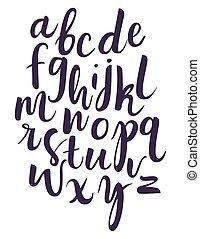iscrizione, isolato, vettore, fondo, aphabet, bianco, scritto mano
