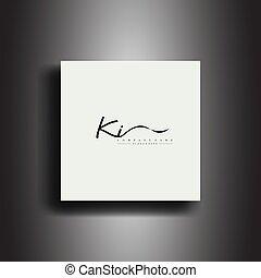 iscrizione, ki, firma, icona, scrittura, art., vettore, monogram.calligraphic, stile