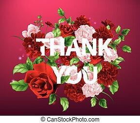 iscrizione, lei, fiori, ringraziare, illustrazione