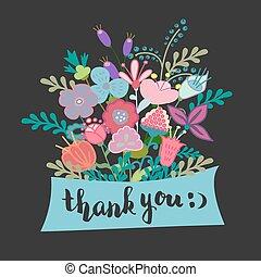 iscrizione, lei, fiori, ringraziare