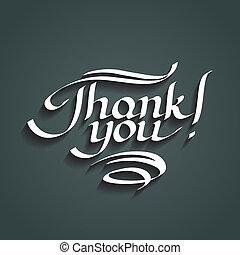iscrizione, lei, ringraziare, hand-drawn