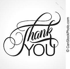 iscrizione, lei, vettore, ringraziare, mano
