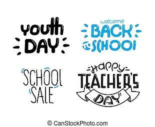 iscrizione, logos, differente, set, indietro, isolato, scuola, bianco, fondo.