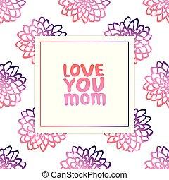 iscrizione, madri, crisantemi, mano, testo, giorno, scheda