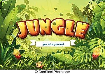 iscrizione, nastro, giungla, illustrazione, cartone animato