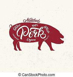 iscrizione, organic., silhouette, parole, fattoria maiale, naturale, scritto, mano, carne di maiale, fresco