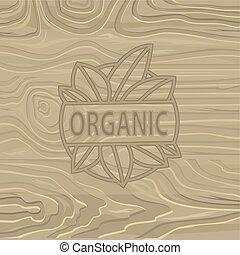 iscrizione, organico, fondo., cibo, legno, vettore