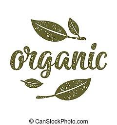iscrizione, organico, vendemmia, leaf., illustrazione, scuro, vettore, verde