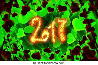 iscrizione, pieno, amore, fuoco, astratto, scritto, valentina, giorno, s, hearts., fondo, 2017, cornice, scheda