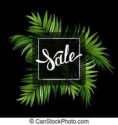 iscrizione, poster., estate, foglie, vendita, tropicale, fondo., palma, nero, bianco, bandiera