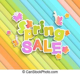iscrizione, primavera, vendita, con, butterfly.