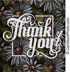 iscrizione, ringraziare, colorito, foglie, andstrawberries, fiori, decorato, lei
