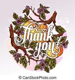 iscrizione, ringraziare, fondo, frutte, mela cotogna, lei, fiori