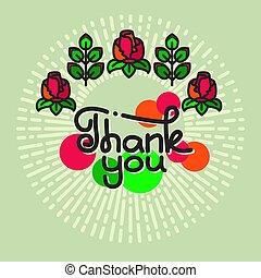 iscrizione, ringraziare, fondo., verde, lei, fiori