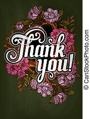 iscrizione, ringraziare, manifesto, you!, sagoma, decorato, fiori