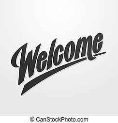iscrizione, scritto, benvenuto, mano