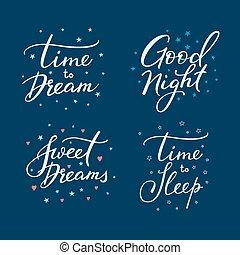 iscrizione, set., buono, notte, segno