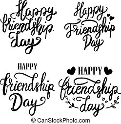 iscrizione, set, card., manifesto, frasi, augurio, illustrazione, mano, day., fondo., vettore, disegno, disegnato, bianco, elemento, amicizia, felice