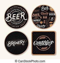 iscrizione, set, coasters, birra, mano, words., scritto