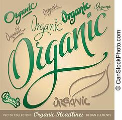 iscrizione, set, organico, (vector), mano