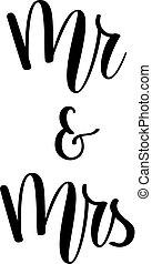 iscrizione, signora, mr., vettore, disegno, matrimonio