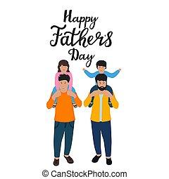 iscrizione, spalle, daughter., poco, figlio, padre, loro, children., disegnato, presa, mano, giorno, dads, felice