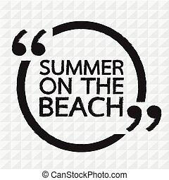 iscrizione, spiaggia, disegno, illustrazione, estate