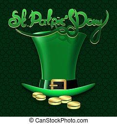 iscrizione, st., mano, verde, hat., disegnato, patrick's, giorno