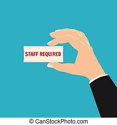 iscrizione, stile, illustrazione, concept., required., mano, carta, reclutamento, roba, assunzione, presa a terra, vettore, cartone animato, pezzo, isolato
